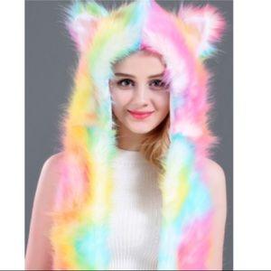 Other - Rainbow fur hood rave festival LUMishop spirithood